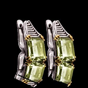 Эксклюзивные серьги TIAMO из золота, с аметистами