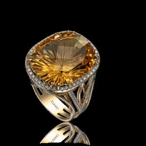Эксклюзивное кольцо TIAMO из золота, с цитрином и бриллиантами