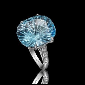 Эксклюзивное кольцо TIAMO из золота, с топазом бриллиантами
