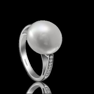 Эксклюзивное кольцо TIAMO из золота, с жемчугом и бриллиантами