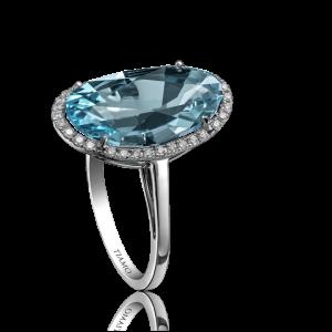 Эксклюзивное кольцо TIAMO из золота, с топазом и бриллиантами