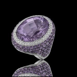 Эксклюзивное кольцо TIAMO из золота, с аметистами и бриллиантами