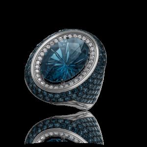 Эксклюзивное кольцо TIAMO из золота, с топазами и бриллиантами