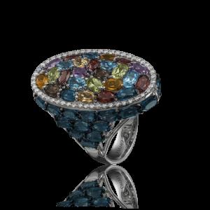 Эксклюзивное кольцо TIAMO из золота, с топазами, гранатами, хризолитами, цитринами, аметистами и бриллиантами